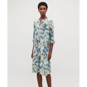 COS Printed Silk Midi Abstract Dress In White